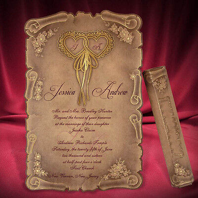 Style Wedding Invitation Card (100 Scroll Wedding Invitation Card Kraft Medieval Gold Heart Style Free Shipping )