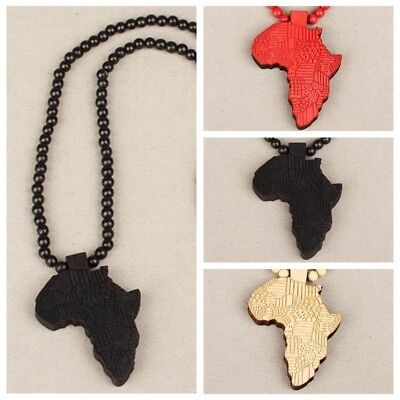 Ankh Good Wood Africa Map Piece Rosary Bead Necklace Chain Pendant Sweater Rosary Chain Pendant