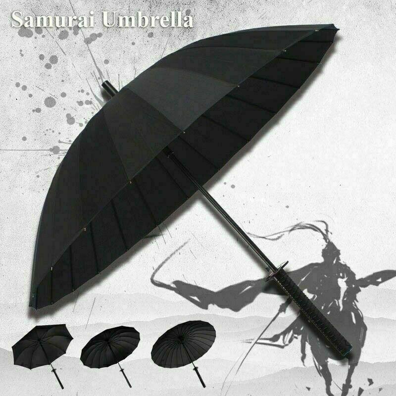 24K Black Umbrella Long Handle Japanese Ninja Sword Katana Windproof US Stock