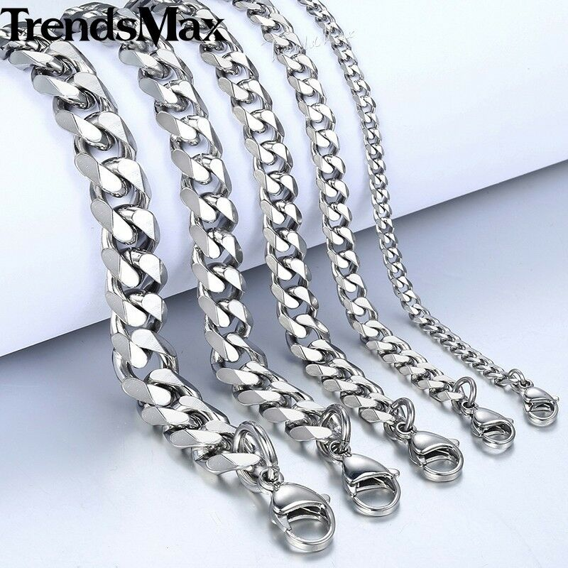 """18-36/""""MEN Stainless Steel 5mm Silver Figaro Link Chain Necklace Cross Pendant*SK"""