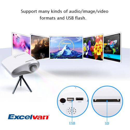 Mini 720P LED/LCD Multimedia Projector AV/USB/VGA/HDMI/SD 3D Home Theater 1000:1