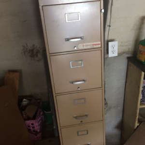 Beige 4 drawer metal filing cabinet