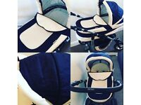 Baby merc Leo pram blue and cream