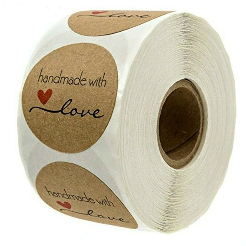 500Pcs//Roll Homemade Handmade with Love Stickers Seal labels DIY Christmas Gift