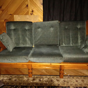 Retro wooden couch and rocking chair
