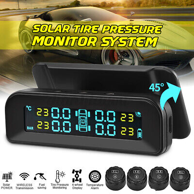 Car Tire Pressure Monitor System Tpms Solar Power Whd 4 External Lcd Display