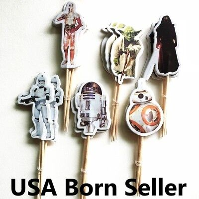 12 Pieces Cupcake Topper Cake Picks STAR WARS Darth Vader C3PO R2D2 Yoda - Star Wars Birthday Cakes