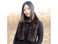 DAYMISFURRY---Knit Floral Rex Rabbit Fur Scarf