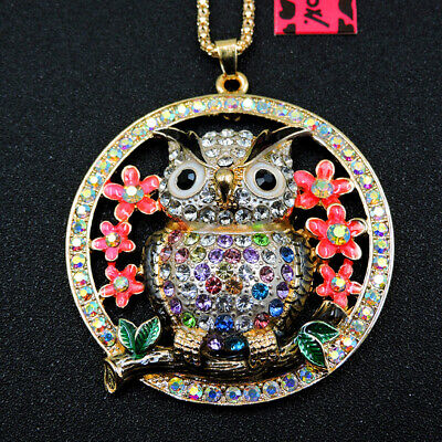 Colorful Enamel Crystal Cute Owl Animal Betsey Johnson Pendant Chain Necklace