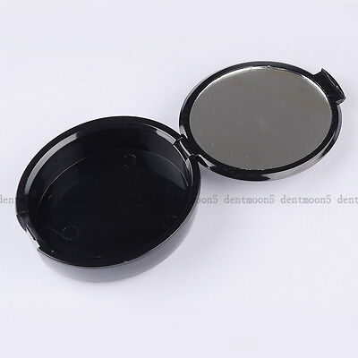 Black Plastic Denture Storage Box False Teeth Case Container With Mirror