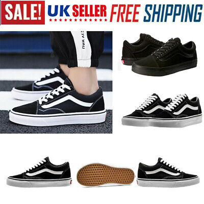 VAN Old Skool Skate Shoes Black/White All Size Classic Canvas Sneakers Lowtop P