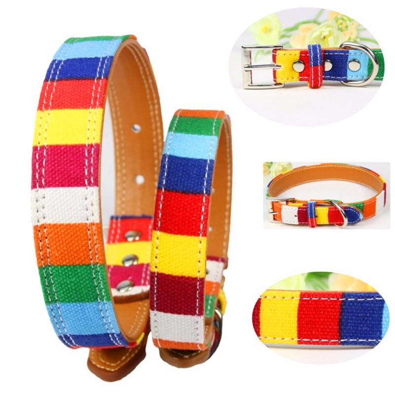 Hundehalsband Leder Größe XS/M/L Plain Halskette Welpen Katze Bunter Umhängeband