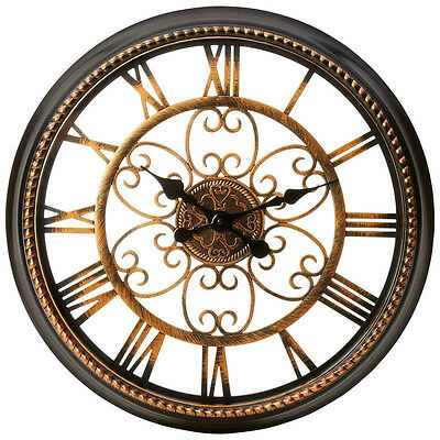 "Brookwood large 20-1/2"" round wall clock roman numerals battery operated"