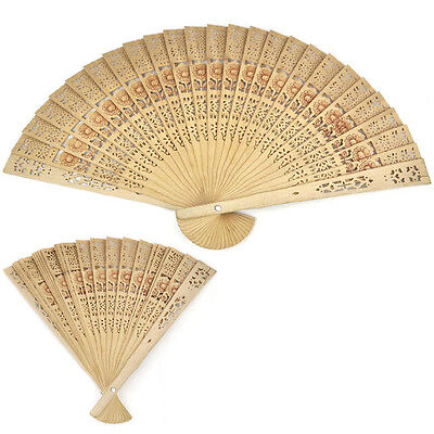 Vintage Folding Bamboo Original Wooden Carved Hand Fan Wedding Bridal Party  OQ