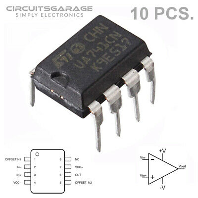 10 X Ua741cn Lm741 Ua741 Op-amp Ic Ti Dip-8 Operational Amplifier - Usa
