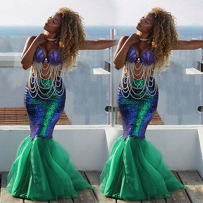 Sexy Mermaid Ladies Halloween Costume Fancy Party Sequins Maxi Dress Tail - Mermaid Dress Halloween