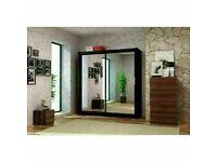 🔵💖🔴50 % OFF BRAND NEW🔵💖🔴BERLIN 2 DOOR SLIDING WARDROBE FULL MIRROR SHELVES & DRAWERS