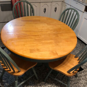 Wooden Dining Table + 4 Chairs and Extension  Panel Asking $150