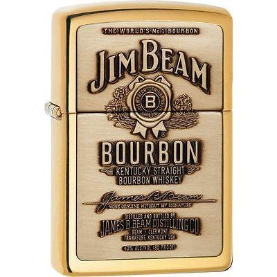 Zippo 254BJB-929, Jim Beam Bourbon, Emblem, High Polish Brass Lighter, Full Size