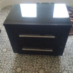 Black lacquer bed side table