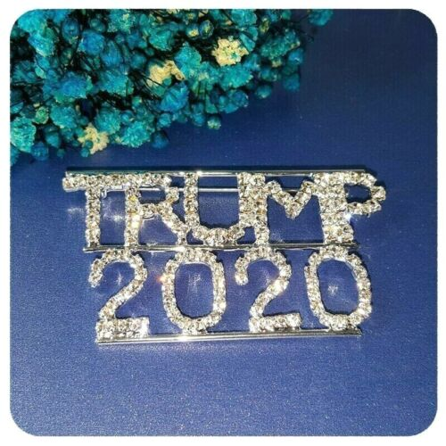 Large Sparkling Clear Rhinestone Trump 2020 Pin, Glowing Silver Tone Accenting