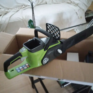 "40V Lithium Ion Brushless Cordless Chainsaw 16"" Greenworks  $149"
