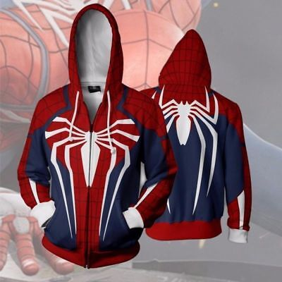 For Spider-Man Adult Halloween Cosplay Costume 3D Print Zipper Jacket Hoodie US