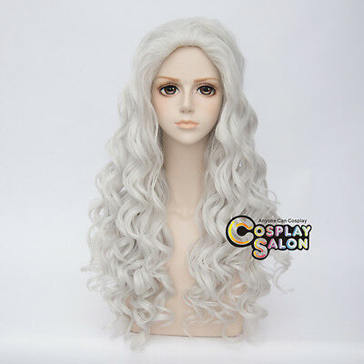 80CM Lolita Afro Silver White Curly Retro Hair Cosplay Party Wig Heat Resistant