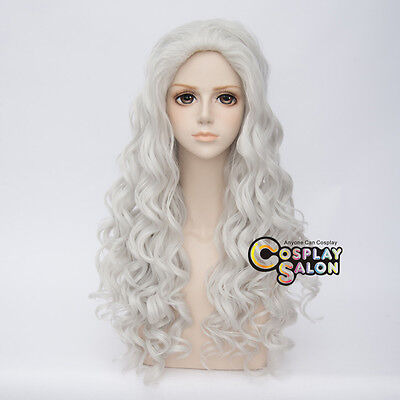 80CM Lolita Afro Silver White Curly Retro Hair Cosplay Party Wig Heat Resistant - Silver Afro Wig