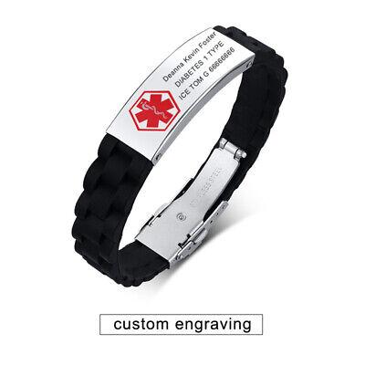 Emergency Silicone Band Medical Alert ID Men Bracelet Cuff Custom Free Engraving Emergency Id Band