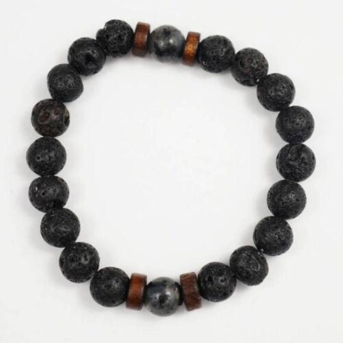 Men Women 8mm Rock Bracelet Elastic Yoga Gift