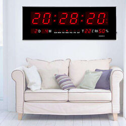 Modern 36cm Red Digital Large Big Jumbo LED Wall Desk Calendar Temperature Clock