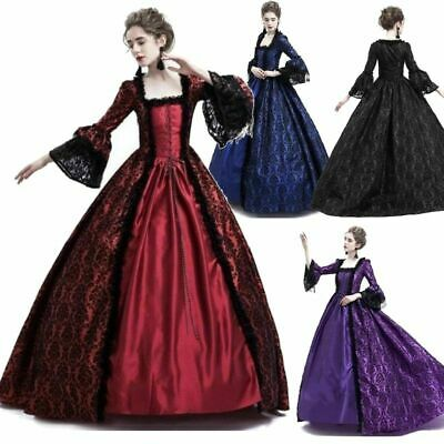 Womens Vintage Gothic Victorian Renaissance Dress Witch Medieval Cosplay Costume