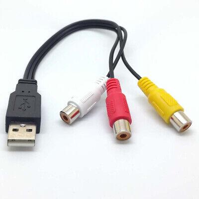 3 RCA Macho a USB 2.0 Compuesto Adaptador Audio Vídeo AV CABLE...