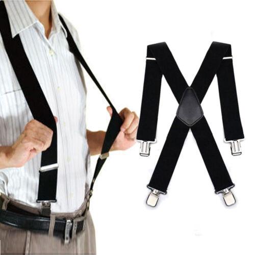 Herren Hosenträger mit 4 Clips extra Breit Hosen starken Versch X-Form 50MM