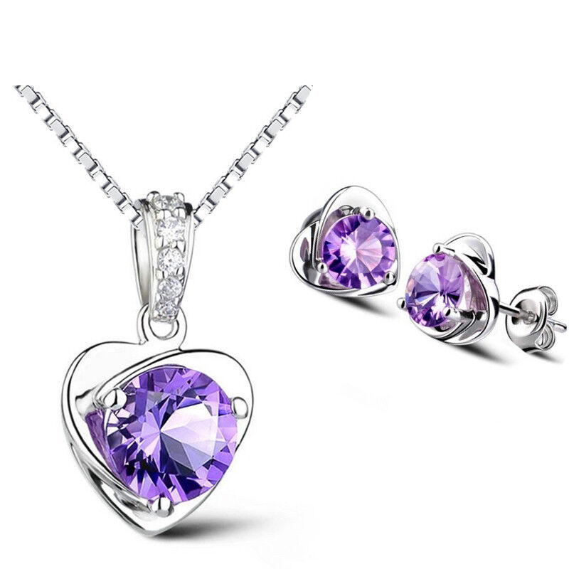 Jewellery - 925 Sterling Silver Heart Stud Earrings Chain Necklace Pendant Womens Jewellery