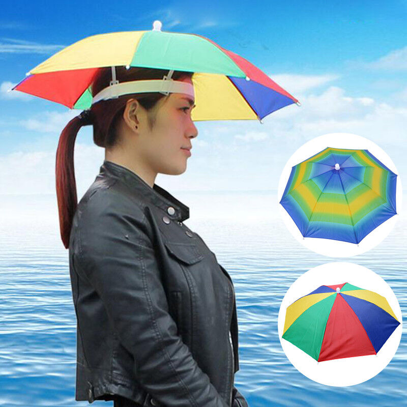 5d14a5976ff88 Details about Foldable Sun Rain Umbrella Hats Outdoor Headwear Cap Brolly  Novelty Head Fishing