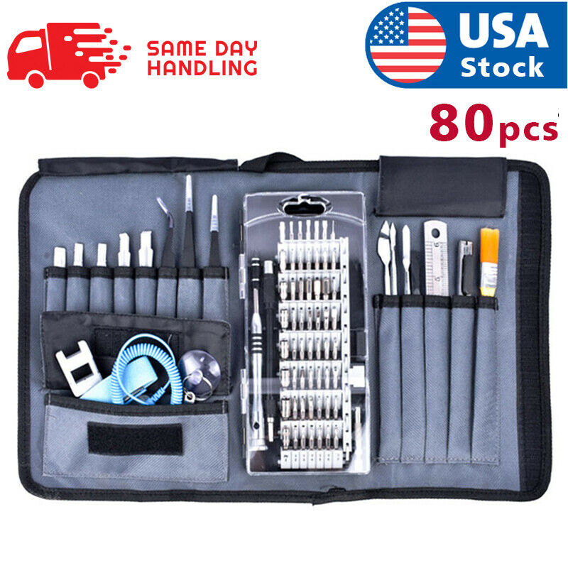 Cell Phone Repair Kit 80X Magnetic Screwdriver Tool Bag Holder Computer Laptop Hand Tools
