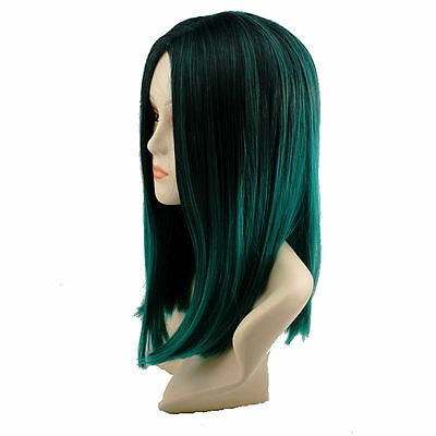 2019 Newest 18inch Short Lady Straight Lace Front Wig Black And Dark Green+Cap - Short Green Wig