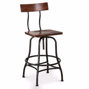 Industrial wood and metal bar stools