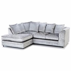 BEST SELLING BRAND= BRAND NEW DYLAN CRUSHED VELVET CORNER OR 3 AND 2 SOFA SET
