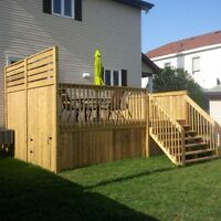 CONSTRUCTION DE TERASSE/ DECK / PATIO SUR MESURE