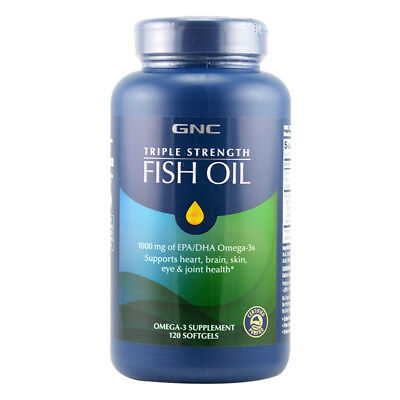 GNC Triple Strength Fish Oil 1000 mg of EPA/DHA Omega-3 120 softgels