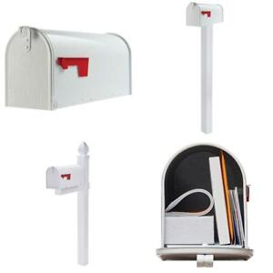 Extra Large Package Heavy Duty Post Mount Steel Mailbox White Galvanized Letters