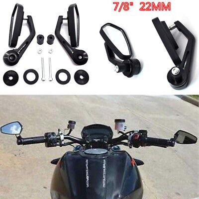 "Universal Motorcycle 7/8"" 22mm Collapsible Handle Bar End Rearview Side Mirrors"