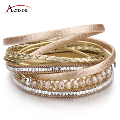 Trendy Women Multilayer Leather Rhinestone Crystal Beads Magnet Wrap Bracelet