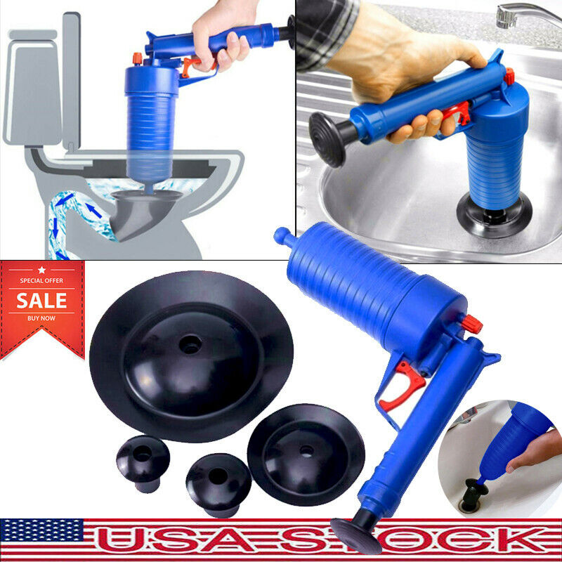 Plunger Opener Toilet Cleaner kit High Pressure Air Drain Bl