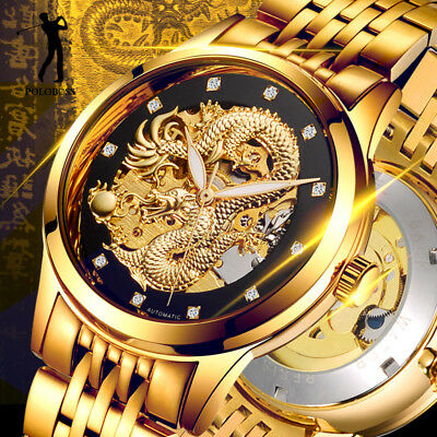 - Dragon Skeleton Automatic Mechanical Watch for Men Wristwatch Steel Gold Hodinky