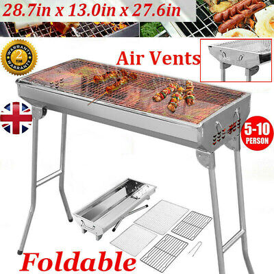 New 73cm Large Stainless Steel Outdoor Folding BBQ Charcoal Grill Camping Picnic