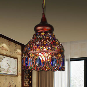Tiffany Style Flower Pattern Ceiling Lamp Stained Glass Chandelier